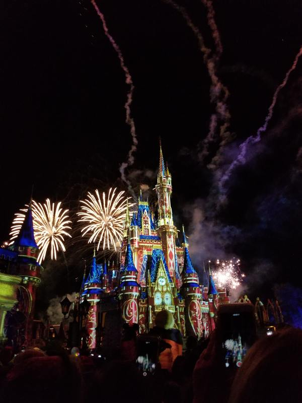 fireworks over castle at night