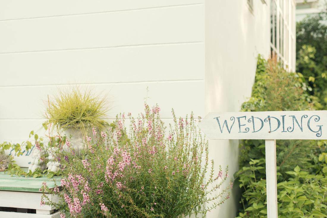 wedding sign in a garden with flowers