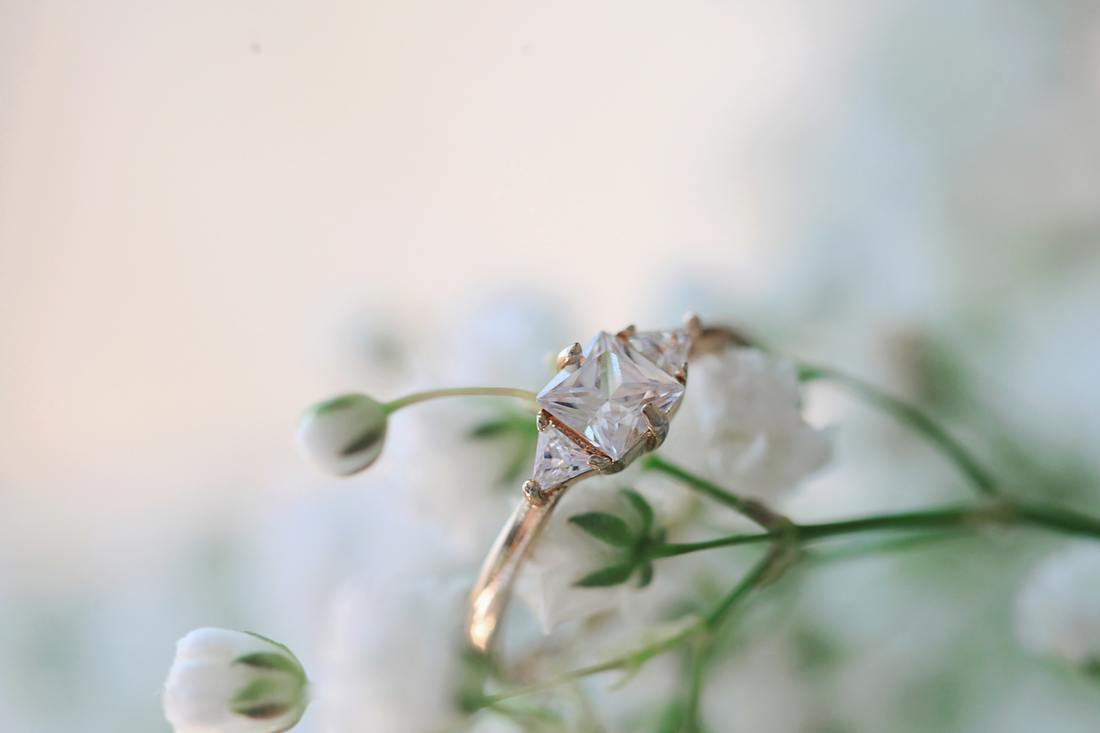 diamond ring in flowers