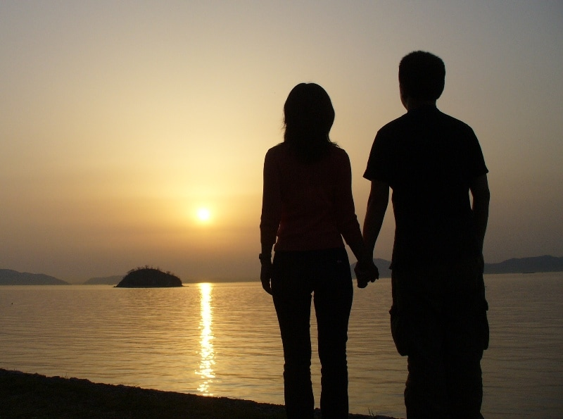 romantic sunset couple