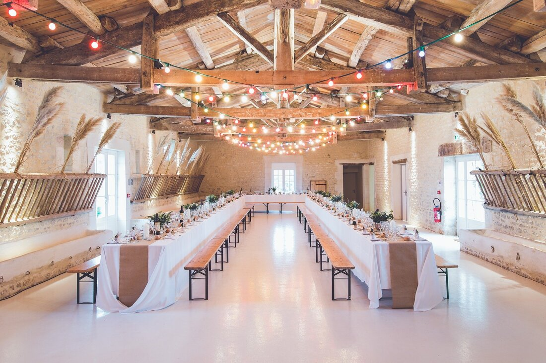 barn wedding lighting